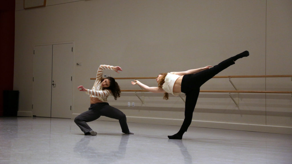 Bella Allen and India Dobbie performing in dance studio