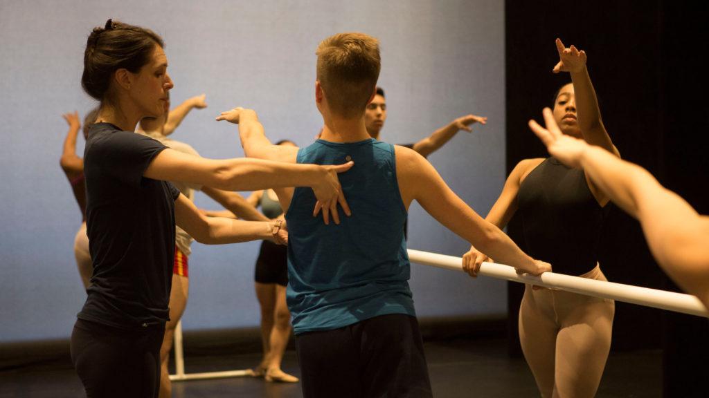 Jackie Kopcsak teaching ballet class on the USC Kaufman stage